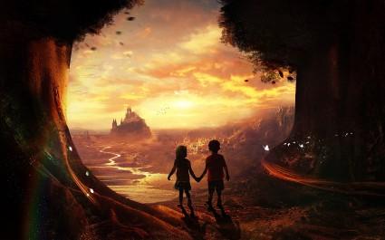 268407-fantasy_art-children-castle-river-butterfly-rainbows-trees-holding_hands-landscape.jpg
